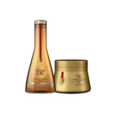 Комплект за подхранване и блясък за плътната коса LOreal Mythic Oil